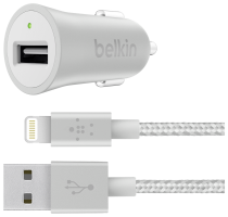Belkin MIXIT Metallic silver nabíječka do auta + Light.Cable 1,2 m