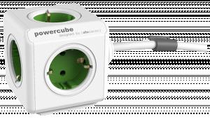 Allocacoc PowerCube Extended vč. kavelu 1,5 m, typ F, zelená