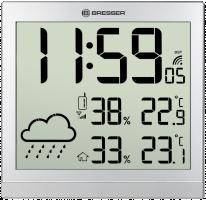 Bresser TemeoTrend JC LCD Nástěnné hodiny, stříbrné