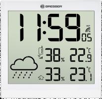 Bresser TemeoTrend JC LCD Nástěnné hodiny, bílé