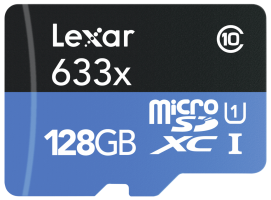 Lexar microSDXC 633x UHS-I 128GB s adaptérem