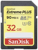 SanDisk Extreme Plus SDHC 32GB 90MB/s. V30 Paměťová karta