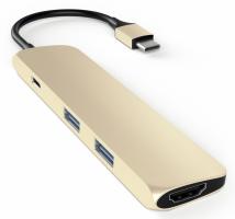 Satechi Type-C USB Passthrough HDMI Hub zlatá