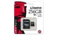 Kingston 256GB Micro SecureDigital (SDXC UHS-I) Card, Class 10 + SD adaptér
