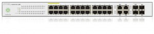 Zyxel NSW100-28P, 28-port GbE Nebula Cloud Managed (L2) PoE Switch: 24x GbE + 4x dual personality (GbE/SFP), PoE (802.3