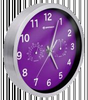 Bresser MyTime Thermo-/ Hygro- nástěné hodiny 25cm - fialové