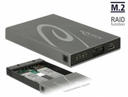 Delock Externí pouzdro 2 x M.2 Key B SSD > USB 3.1 Gen 2 USB Type-C™ samice s RAID