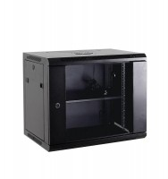 "Netrack wall/hanging cabinet 19"",15U/450 mm,glass door,black,remov. side pan."