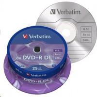 1x25 Verbatim DVD+R Double Layer 8x Speed, 8,5GB matt stříbrná barva