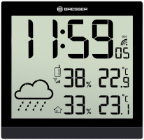 Bresser TemeoTrend JC LCD Nástěnné hodiny, černé