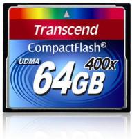 Transcend Compact Flash karta 64GB 400x, čtení až 90MB/s; zápis až 60MB/s