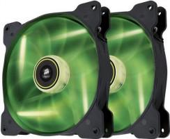 Corsair PC case fan Air Series SP140 GREEN LED, 140mm, 3pin, Twin Pack