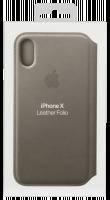 Apple iPhone X kožené pouzdro, Šedá