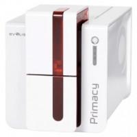 Evolis Primacy, jednostranný tisk, 300 dpi, USB, Ethernet, čipové karty, červená