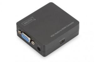 Digitus Video Převodník VGA / audio na HDMI, Video s rozlišením až 1920x 1080 pixelů (Full HD) malý kryt, černý