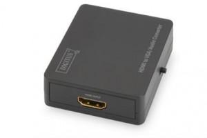 Digitus Video Převodník HDMI na VGA / audio, video rozlišení až 1080p (Full HD), malý kryt, černý