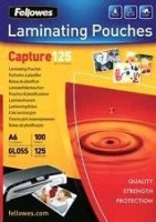 Fellowes Matt laminating pouches 125 micron, A4 100-pack
