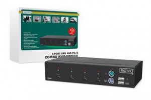 Digitus Combo-KVM Switch 1User, 4 PCs(each PS/2 or USB), vč.2 kabelů