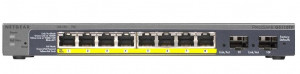 NETGEAR 8xGb PoE;2x SFP; Smart Switch,46W; GS110TP