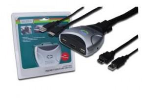 Digitus MINI KVM USB, HDMI 1 User, 2 PC + Audio, kabel 1,2m