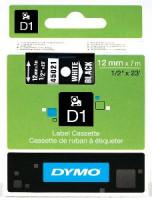 Dymo páska D1 12mm x 7m bílý tisk, černá páska 45021