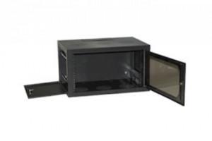 """Netrack nástěnný rack19"""", 6U/400 mm, proskl. dveře, odnímatelný boční p.;grafit"""