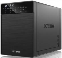 """External Icy Box 4x 3,5"""" USB 3.0, eSATA Host, RAID 0, 1, 3, 5, 10, černá barva"""