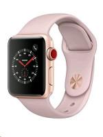 Apple hodinky Series 3 (GPS + Cellular), 38mm, Gold Aluminium Case s růžovým sportovním páskem