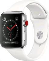 Apple hodinky Series 3 (GPS + Cellular), 42mm, nerezový s bílým sportovním páskem
