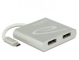 Delock USB Type-C Splitter (DP Alt Mód) > 2 x Displayport výstup 4K 30 Hz videorozdělovač