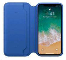Apple iPhone X kožené pouzdro Electric modra