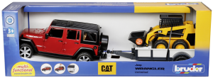 Bruder Jeep s přívěsem a CAT nakladačem