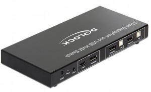 Delock Displayport KVM Switch 2 > 1 s USB a Audio, pro PC a Mac,včetně kabeláže - 11367
