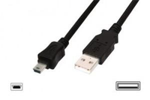 Digitus USB kabel USB A samec na B-mini 5pin samec, 2x stíněný, 3m, černý