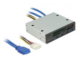 "Delock 3,5"" USB 3.0 čtečka karet s 5 sloty + 4 porty USB 3.0 Hub"