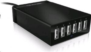 ICY BOX IB-CH601 externí nabíjecí multiport panel (6x USB), černý
