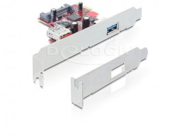 DeLock PCI Express x1 USB 3.0, 1 externí, 1 interní, NEC, + low profile