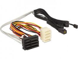 Delock Kabel Mini SAS HD SFF-8643 > 4 x SAS SFF-8482 + napájení + Sideband 1 m