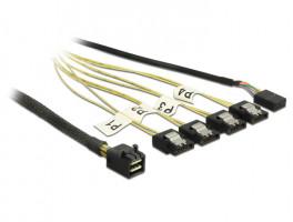 Delock Kabel Mini SAS HD SFF-8643 > 4 x SATA 7 pin Reverse + Sideband 1 m
