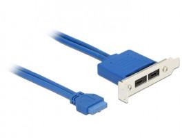 DeLOCK PCI záslepka, 1x 19pin USB 3.1 -> 2x USB-C   30cm modrá barva