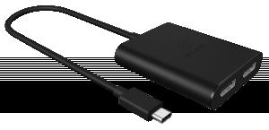 Adapter IcyBox Grafiksplitter 1x USB Type C St. -> 2x DP modrá retail