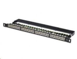 """Digitus CAT 6 patch panel, stíněný,24-Port RJ45, s klapkou, 8P8C, LSA, 0.5U, 19 """"pro montáž do racku, barva černá RAL90"""