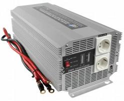 HQ INV2500/24 - Měnič napětí 24V/230V, 2500W, Schuko zásuvky