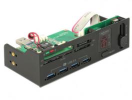 """Delock 5,25"""" USB 3.0 čtečka karet s 5 sloty + 4 portový USB 3.0 Hub včetně V / A zobrazení a ovládání ventilátoru"""