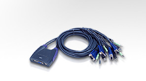 ATEN 4port KVM USB mini, audio, 0.9 metru kabely (CS-64US)