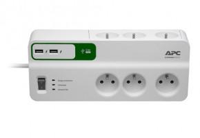APC Essential SurgeArrest 6 outlets s 5V, 2.4A 2 port USB charger, 230V France