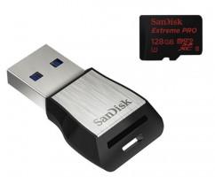 SanDisk microSDXC 128 GB Extreme Pro, 275MB/s, UHS-II, class 10/U3 + čtečka USB3.0